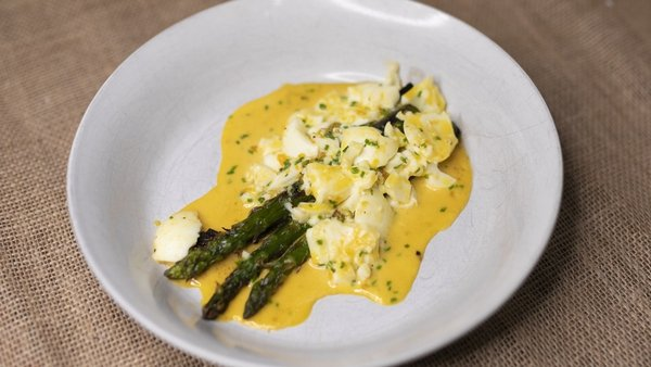 Paul Flynn's buttered asparagus with crushed egg and chives.