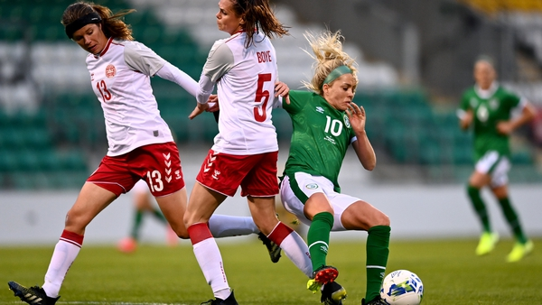 Ireland played better in the second half but Denmark's first-half strike proved the difference