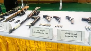 Weapons, the junta said were confiscated by security forces from protesters arrested while taking part in demonstrations