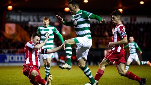 Aaron Greene of Shamrock Rovers in action at The Showgrounds in 2020