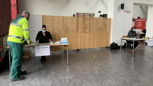 Staff inside the walk-in test centre at WIT in Waterford