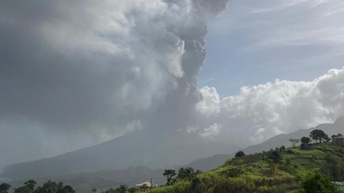 Eruption at La Soufriere volcano in St Vincent (pic: Twitter/ @News_784)