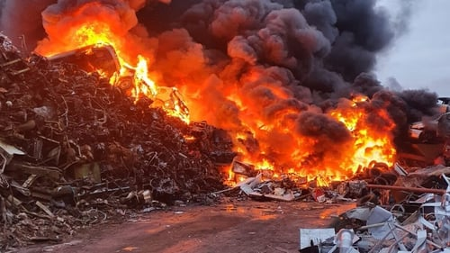 The fire was embedded inside hundreds of tonnes of materials (pic: Cork City Fire Brigade)