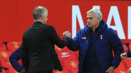 Ole Gunnar Solskjaer and Spurs manager Jose Mourinho
