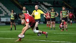 Jacob Stockdale scores Ulster's fifth try