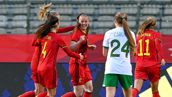Tine De Caigny, centre, of Belgium celebrates after scoring her side's first goal at King Baudouin Stadium
