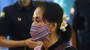 Aung San Suu Kyi has not been seen in public since being detained in the early hours of 1 February (file pic)