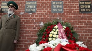A ceremony to lay flowers at the grave of Soviet cosmonaut Yuri Gagarin in the Kremlin Wall Necropolis in Moscow