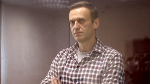 Alexei Navalny pictured during a court hearing in February