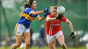 Roisin Daly of Tipperary (L) competes for the ball with Aine O'Sullivan of Cork during last year's cancelled league