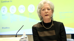 Professor Karina Butler, Chair of the National Immunisation Advisory Committee, at a press briefing tonight (pic: Rollingnews.ie)