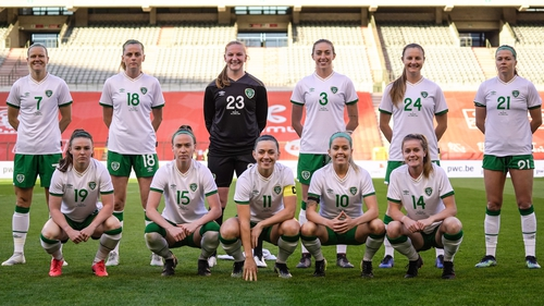 Claire Walsh (no 18) and the rest of the Ireland team that faced Belgium