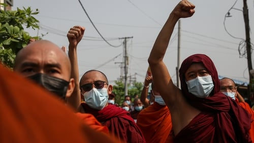 Monks demonstrating in the city of Mandalay