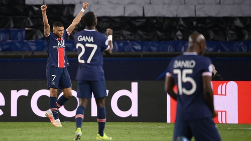Kylian Mbappe, Idrissa Gueye and Danilo celebrate at the full-time whistle