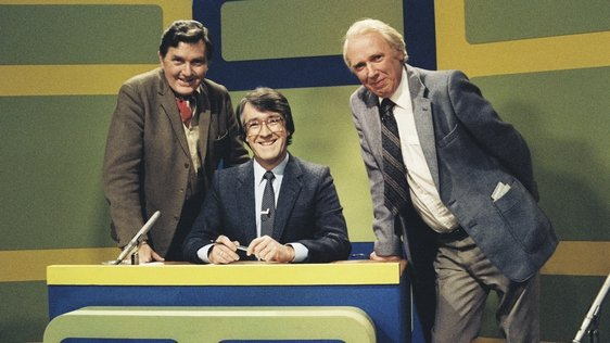 The presenter and team captains from RTÉ Television's musical quiz show 'Off the Beat', in Studio 2 in September 1980. From left to right; Frank Hall, Brendan Balfe (presenter) and writer Hugh Leonard.
