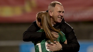 Kenny Shiels celebrates at Seaview with Emily Wilson