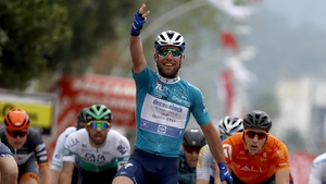 Mark Cavendish celebrates stage victory at the finish line
