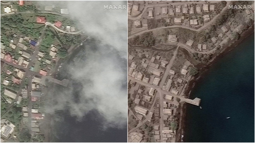 The satellite images were shot before and after the eruption of a volcano on Saint Vincent (Credit: Satellite Image/Maxar Technologies)