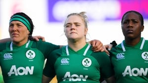 The Ireland front row, from left, Lindsay Peat, Cliodhna Moloney and Linda Djougang