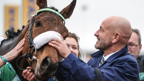 Owner Philip Reynolds with Presenting Percy after winning the Pertemps Network Final Handicap Hurdle during the 2017 Cheltenham Festival