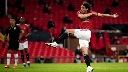 Edinson Cavani strikes for his first-half goal against Granada