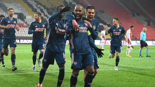 Alex Lacazette celebrates scoring Arsenal's second goal