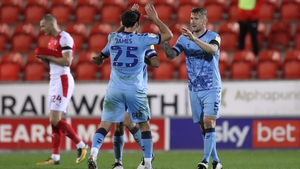 Coventry City players Kyle McFadzean and Matthew James react at the full-time whistle