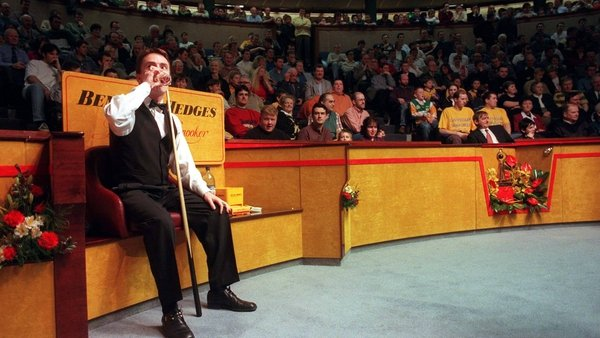 Ken Doherty and a full crowd at Goffs, during Ireland's golden age of snooker