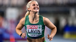 Sarah Lavin after setting yet another personal best in March at the European Indoors