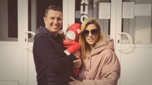 Mark Hedderman and Sinead Gallagher Hedderman travelled to Ukraine for the birth of their son, via a surrogate mother, 11 days ago