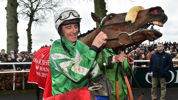 Davy Russell with Presenting Percy after winning the John Mulhern Galmoy Hurdle at Gowran Park in 2019