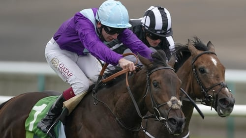 Oisin Murphy and Alcohol Free win The Juddmonte Cheveley Park Stakes from Ryan Moore and Miss Amulet at Newmarket last September.