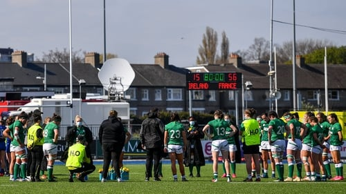 Ireland team gather after their heavy loss at home to France in the Women's Six Nations