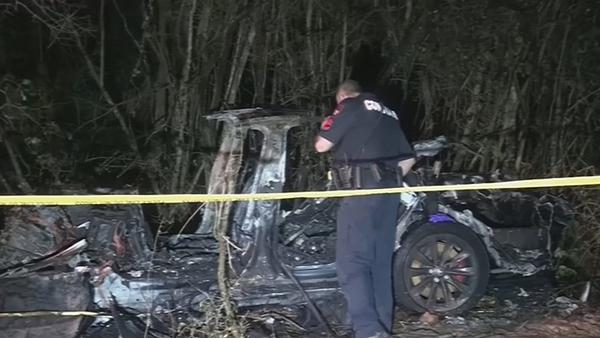 Two men were killed in the crash on Saturday night (Pics: Reuters Scott J Engle)