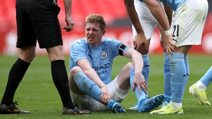 Kevin De Bruyne picked up the injury in the FA Cup semi-final defeat to Chelsea