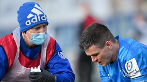 Sexton of Leinster with Leinster head physiotherapist Garreth Farrell in the Exeter game