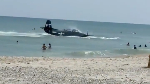 The TBM Avenger successfully landed in the water (Pic: Kami Moffitt)