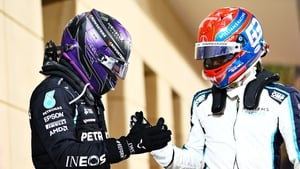 Lewis Hamilton, left, and George Russell
