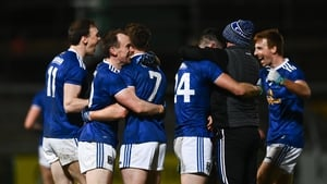 Cavan players celebrate their provincial triumph last November