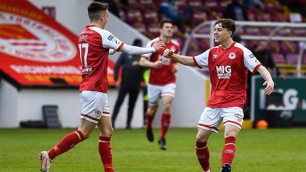 Darragh Burns celebrates his opener for St Patrick's Athletic