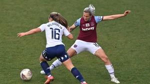 Olivia McLoughin of Aston Villa and Katerina Svitkova of West Ham