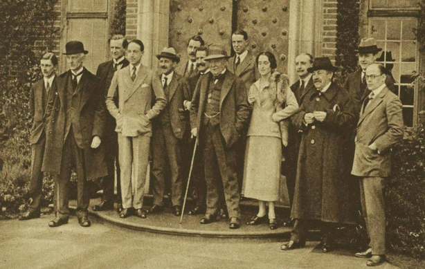 The British and French prime ministers met in Lympne in the south-east of England last week ahead of the Downing Street conference: Lloyd George is pictured centre with the hat and cane, with Aristide Briand second from the right in the front row Photo: Illustrated London News [London, England], 30 April 1921