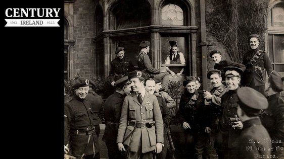 Century Ireland Issue 203. Black and Tans and Auxiliaries outside the London and North Western Hotel, North Wall, Dublin in April 1921. Photo: National Library of Ireland, HOGW 117