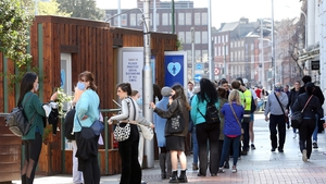 People queue to use a public toilet facility at St Stephen's Green (Pic: Rolling News)