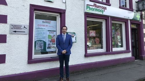 Tom Murray outside his pharmacy in Ramelton, Donegal