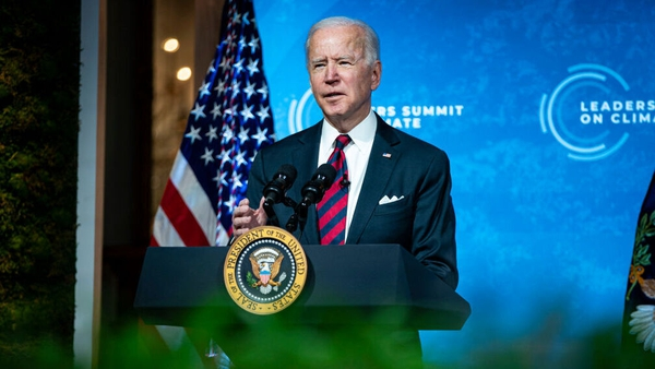 Joe Biden speaks during a virtual Leaders Summit on Climate, in the East Room of the White House
