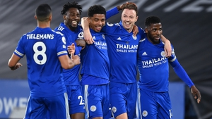 Jonny Evans celebrates after scoring Leicester City's second goal against West Brom