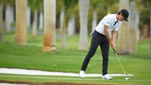 Thorbjorn Olesen putts on the seventh hole