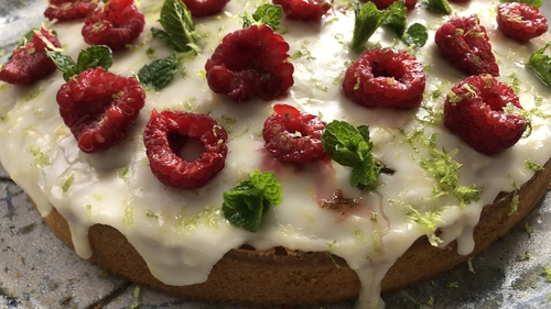"""""""I sometimes replace the raspberry decoration with slices of peeled mango which I sweeten lightly with caster sugar and flavour with a little lime zest and juice."""""""