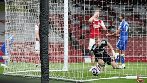 Bernd Leno looks on as the ball nestles in the back of the net